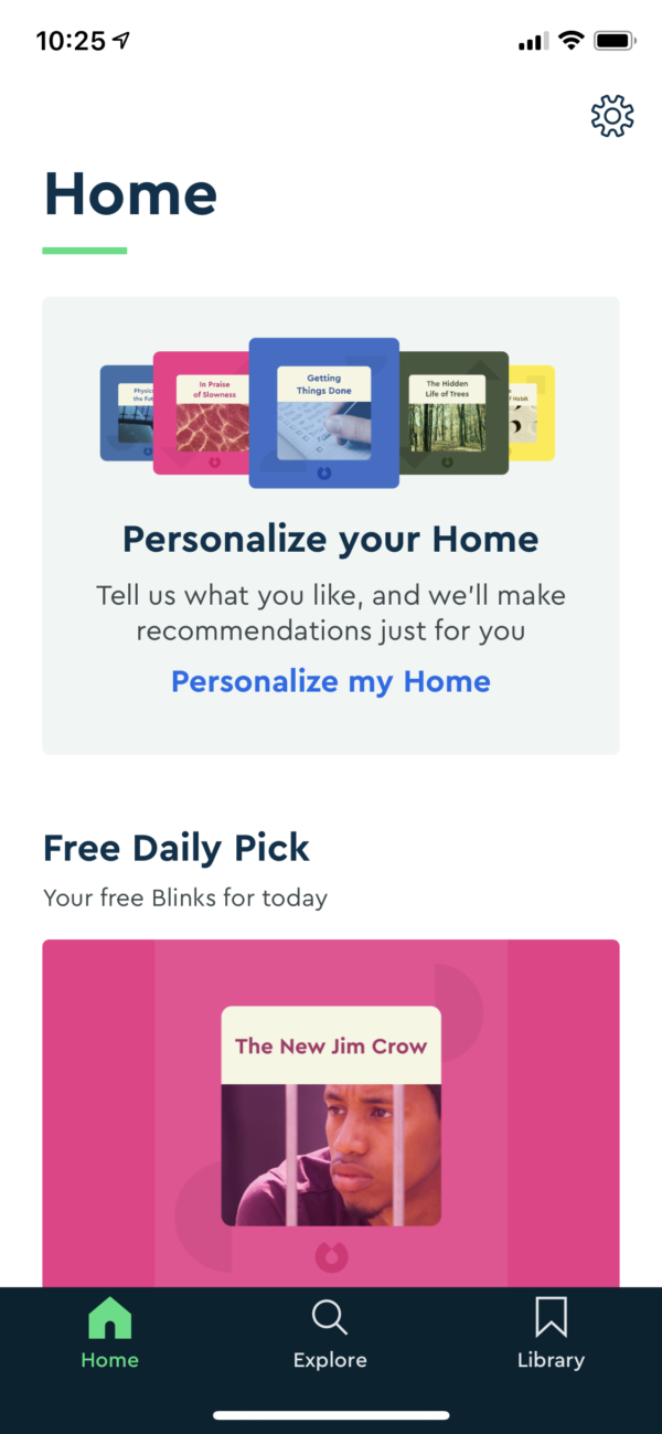 Blinkist Personalize your home screenshot