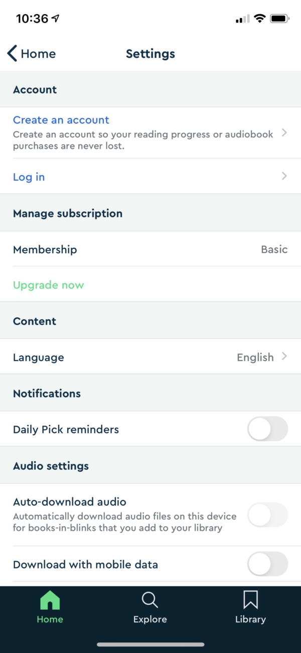 Blinkist Settings screenshot