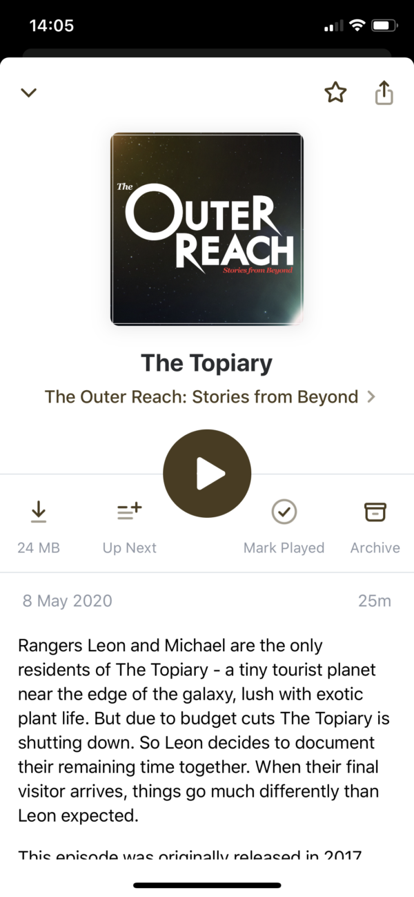 Pocket Casts Episode detail screenshot