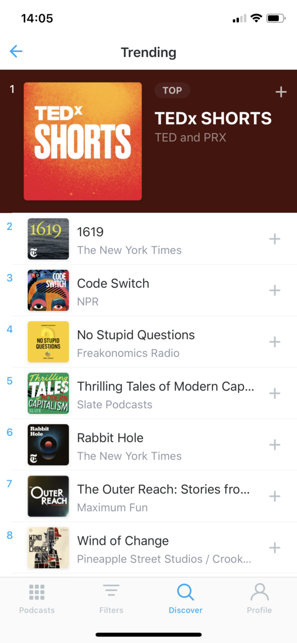 Pocket Casts Trending screenshot