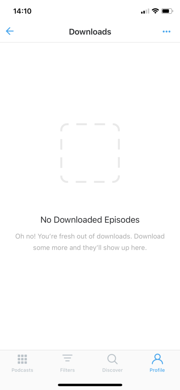 Pocket Casts No downloaded episodes screenshot