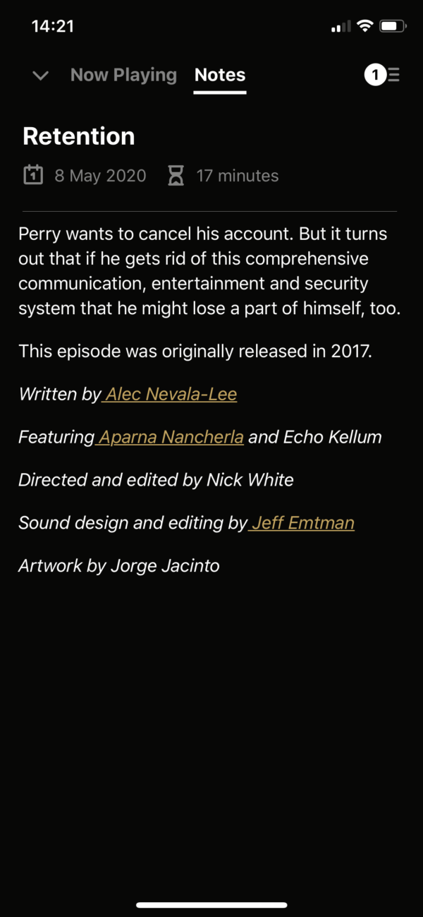 Pocket Casts Episode notes screenshot