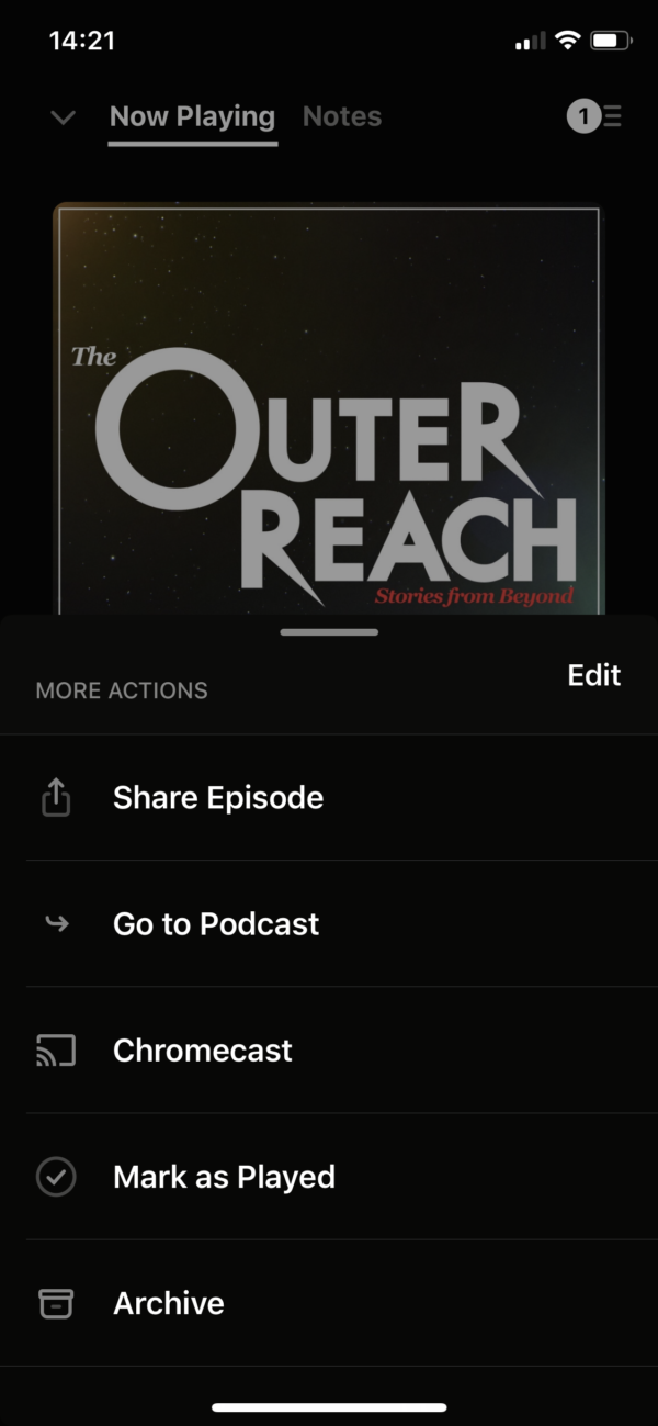 Pocket Casts Actions screenshot