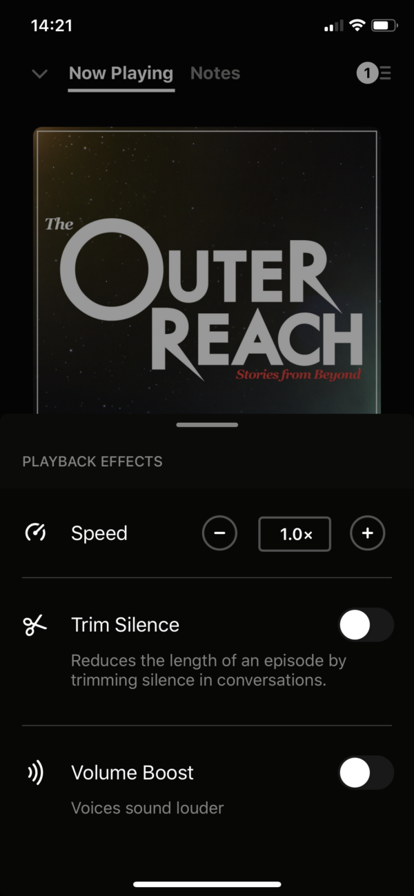 Pocket Casts Playback effects screenshot