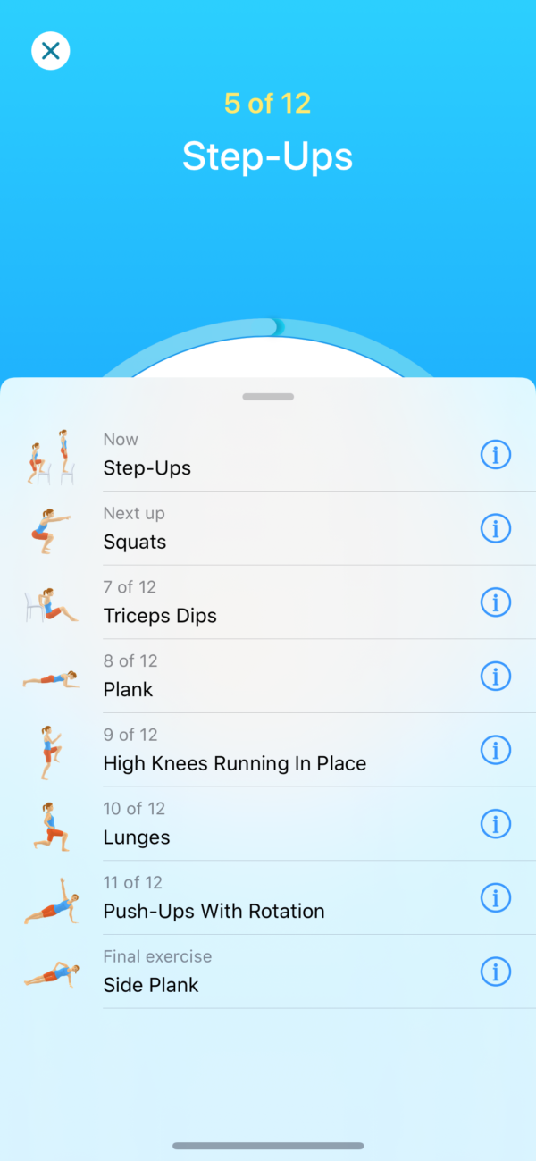 Seven Workout list screenshot