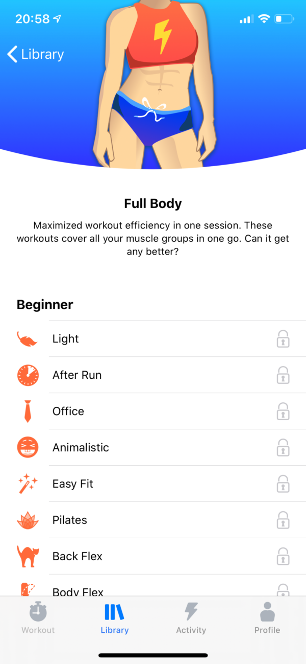 Seven Workout breakdown screenshot
