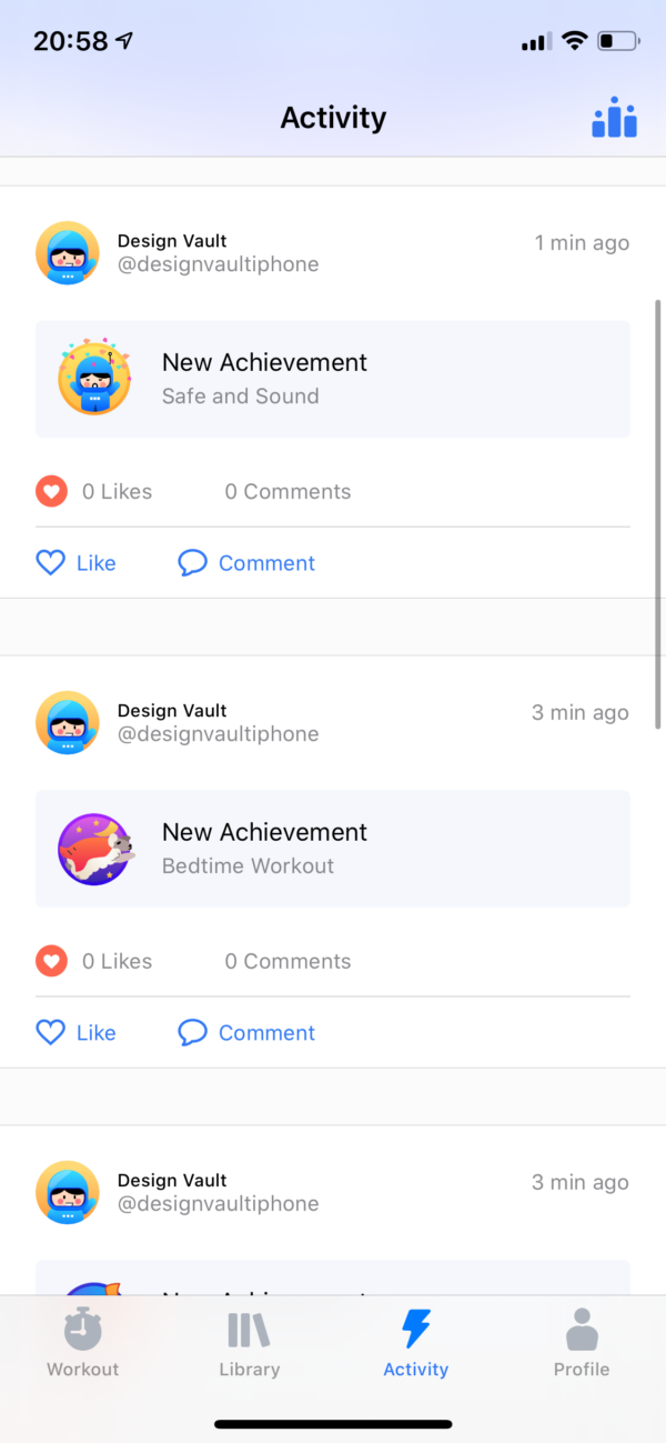 Seven Activity feed screenshot