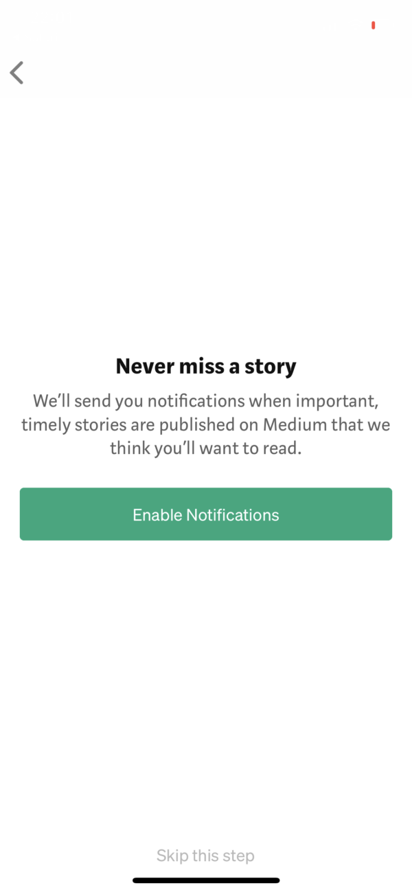 Medium Never miss a story screenshot