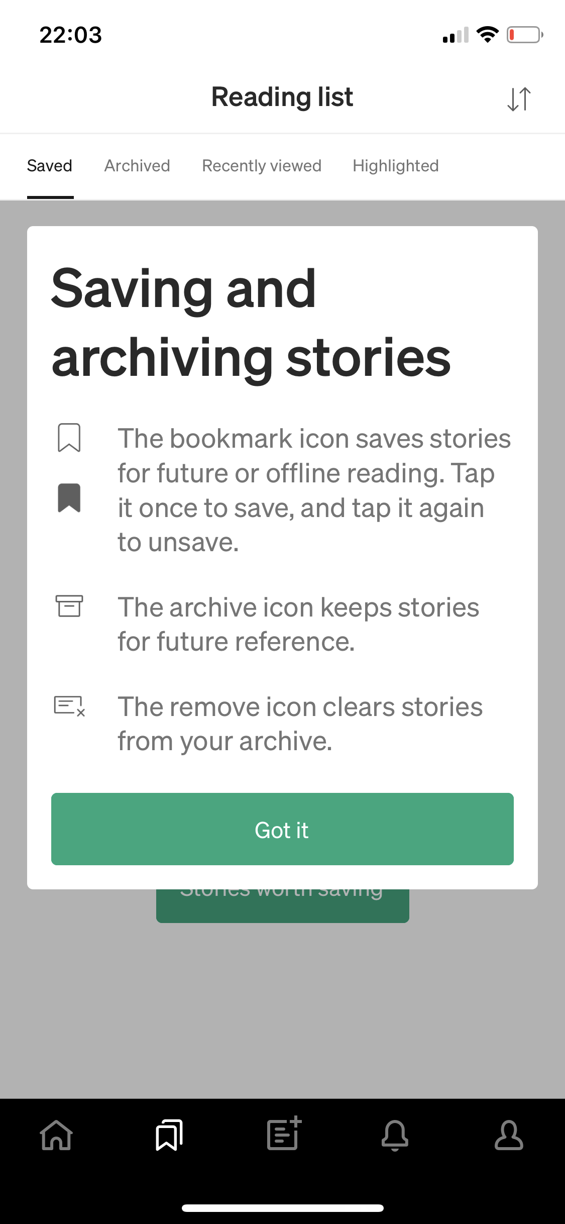 Saving and archiving stories screenshot