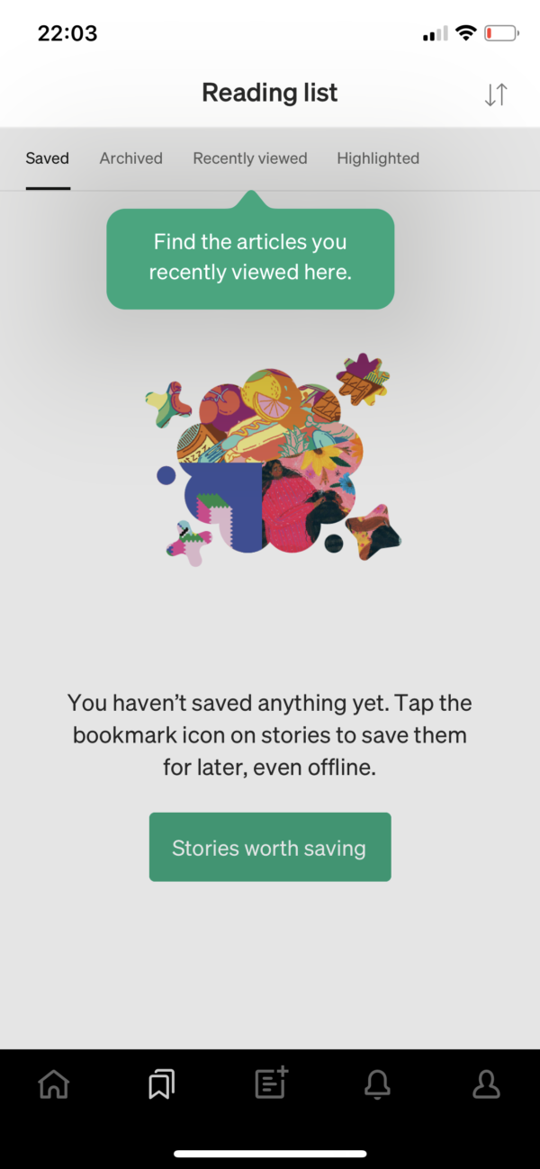 Medium Find the articles you recently viewed screenshot