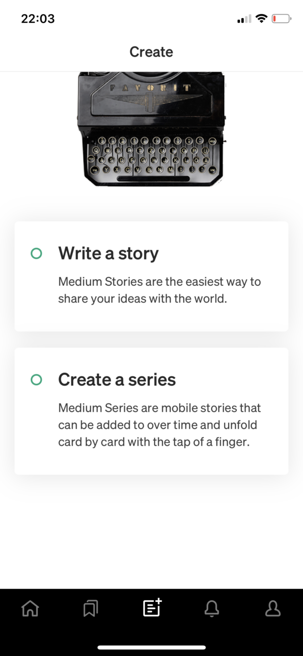Medium Create screenshot