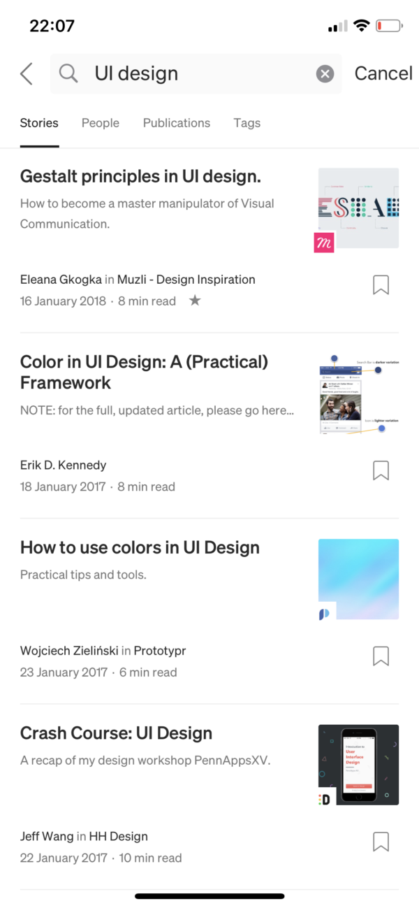 Medium Search results screenshot