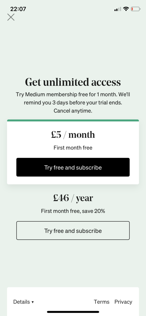 Medium Pricing screenshot