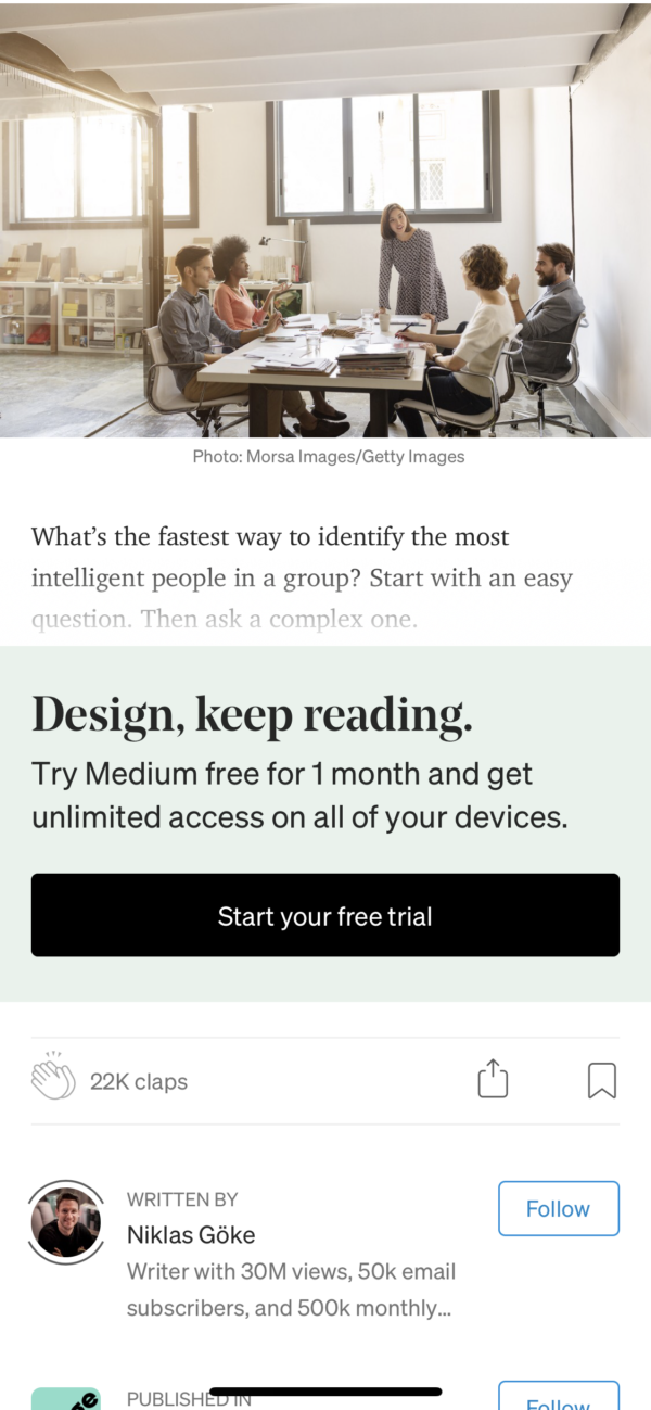 Medium Article paywall screenshot