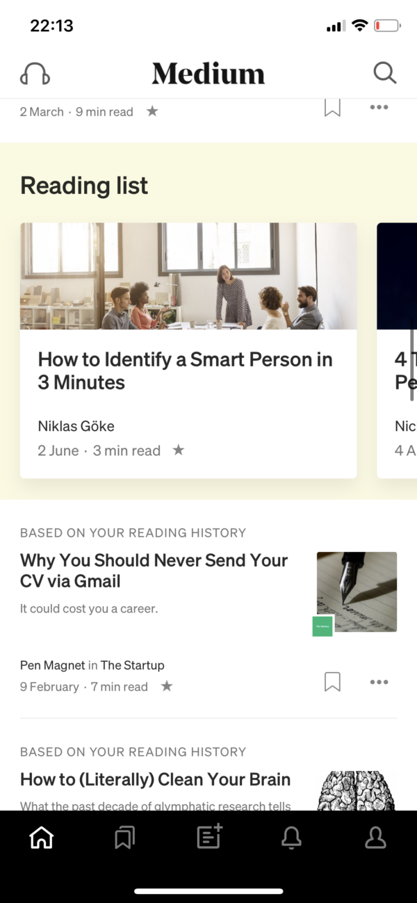 Medium Reading list screenshot
