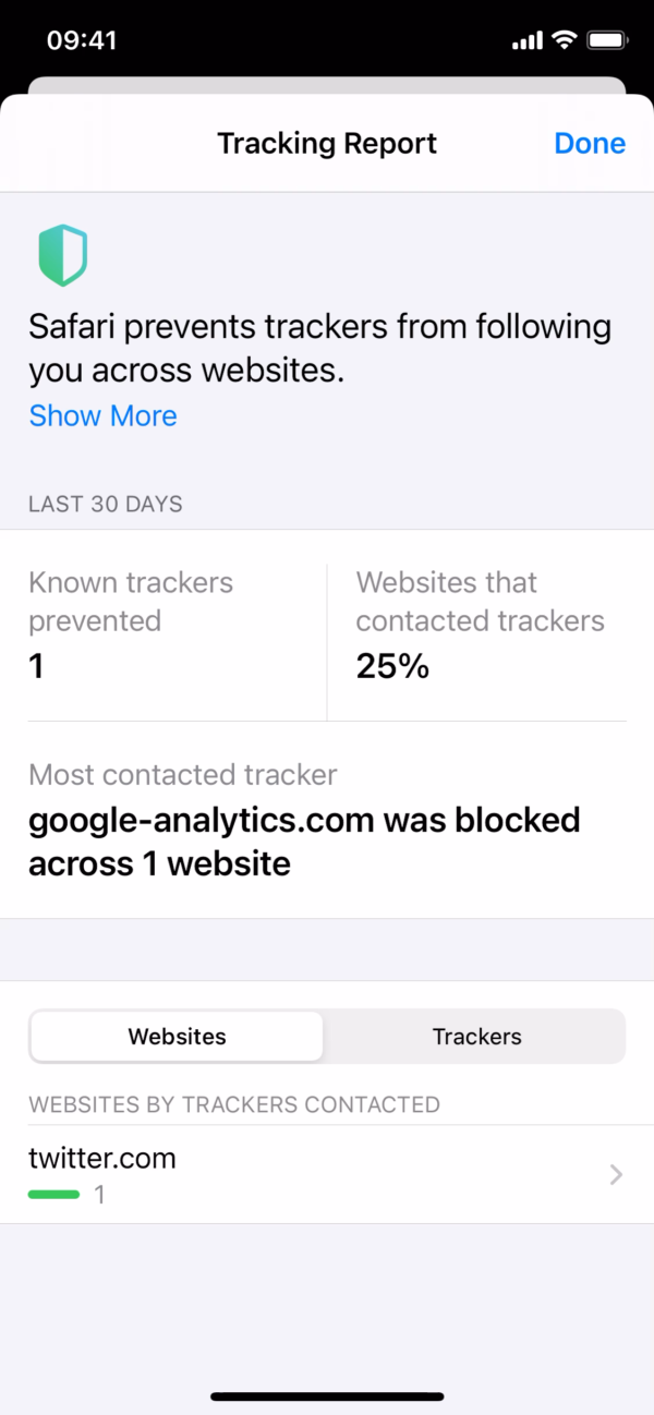 iOS 14 Safari / Tracking report screenshot