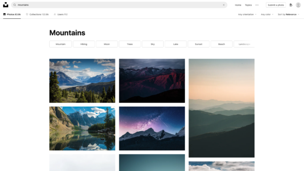 Unsplash Search results screenshot
