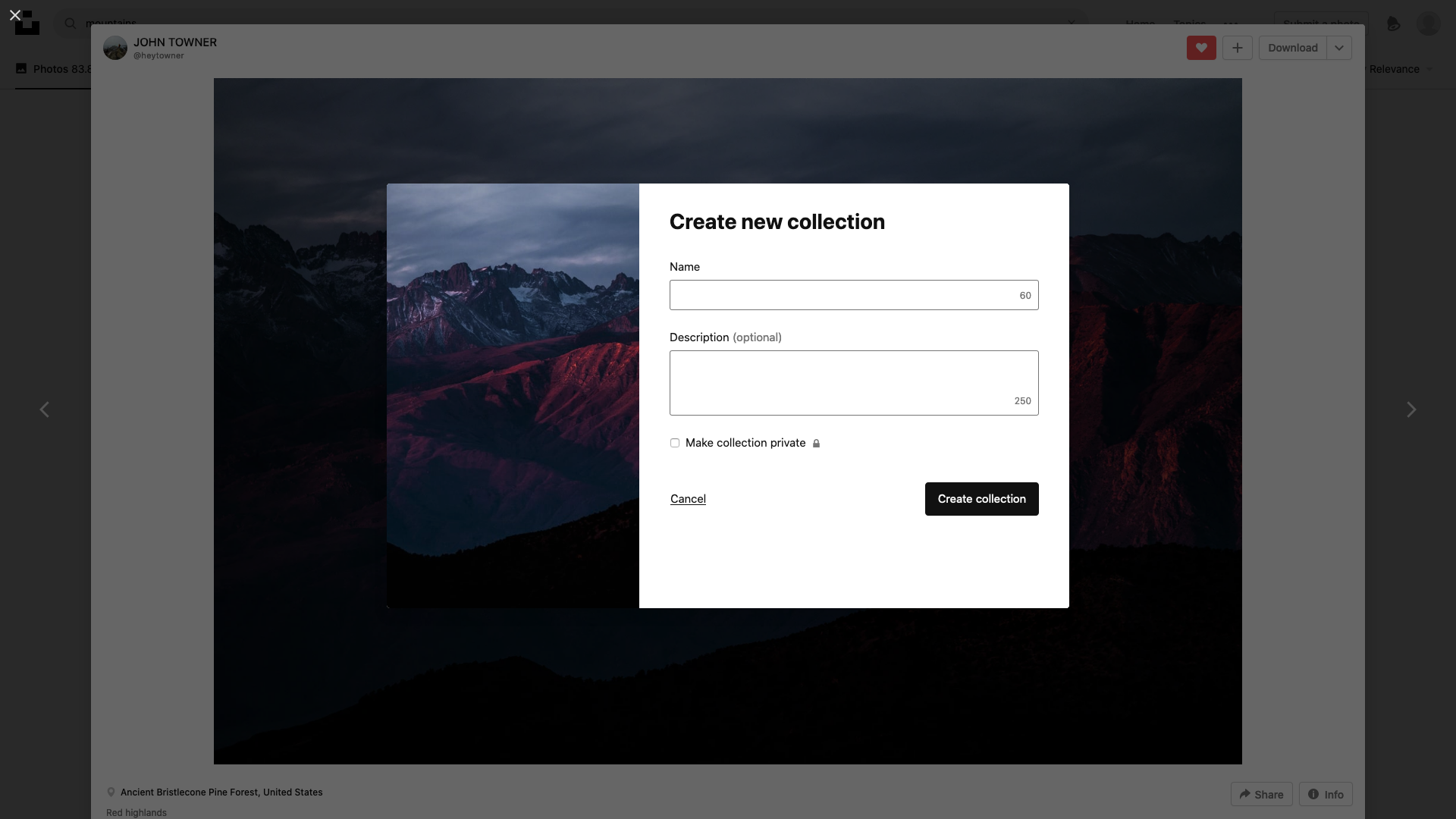 Create new collection screenshot
