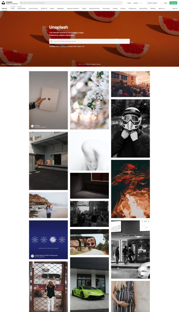 Unsplash Home screenshot