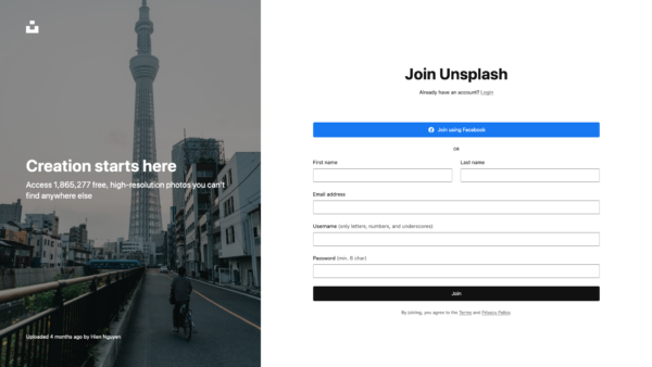 Unsplash Join Unsplash screenshot