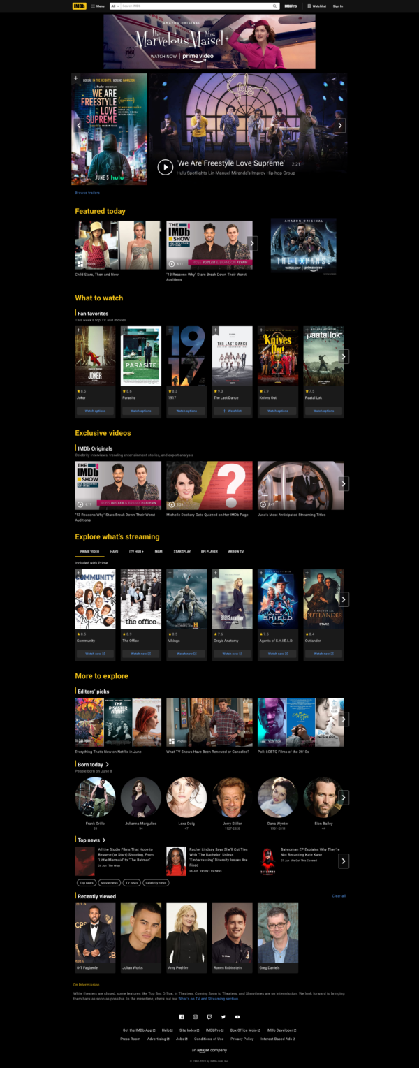 IMDB Homepage screenshot