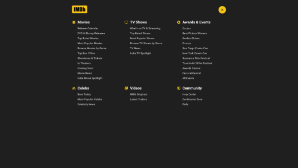 IMDB Main menu screenshot