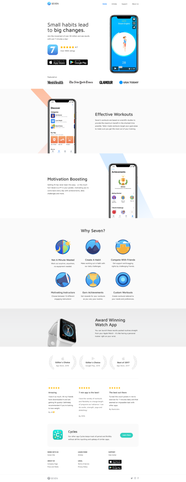 Seven Homepage screenshot