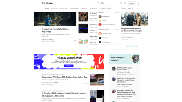 Medium Search screenshot