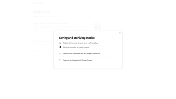 Medium Saving and archiving stories screenshot