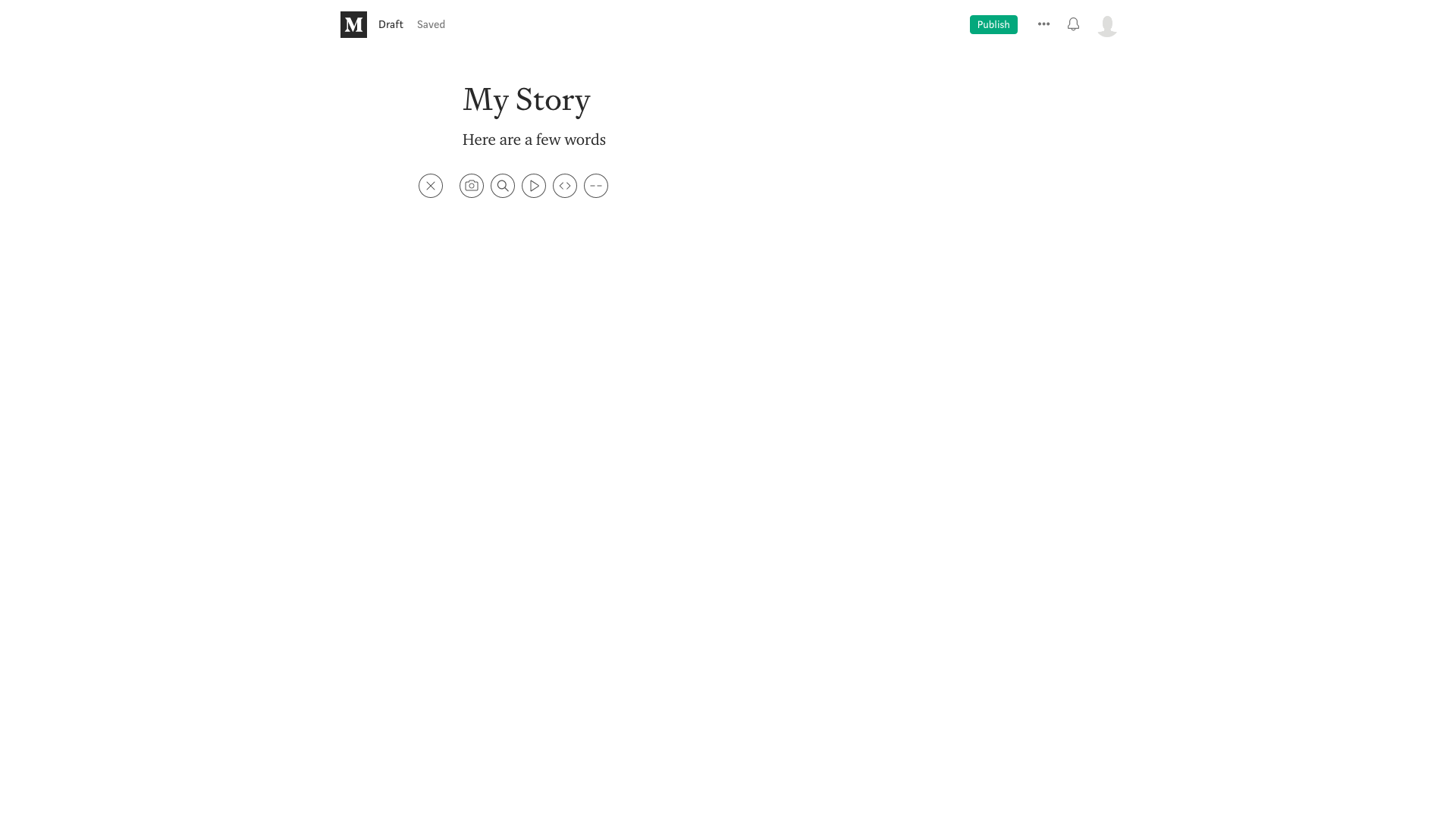 Write story menu screenshot