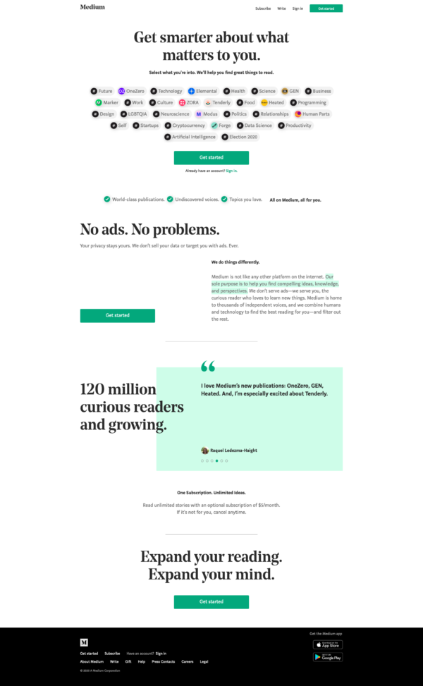 Medium Homepage screenshot