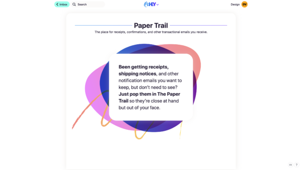 HEY Paper trail / empty state screenshot