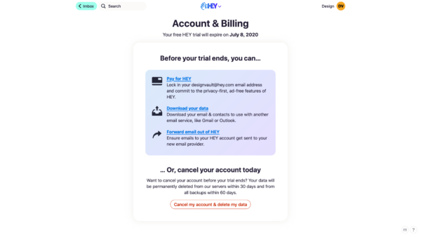 HEY Account & billing screenshot