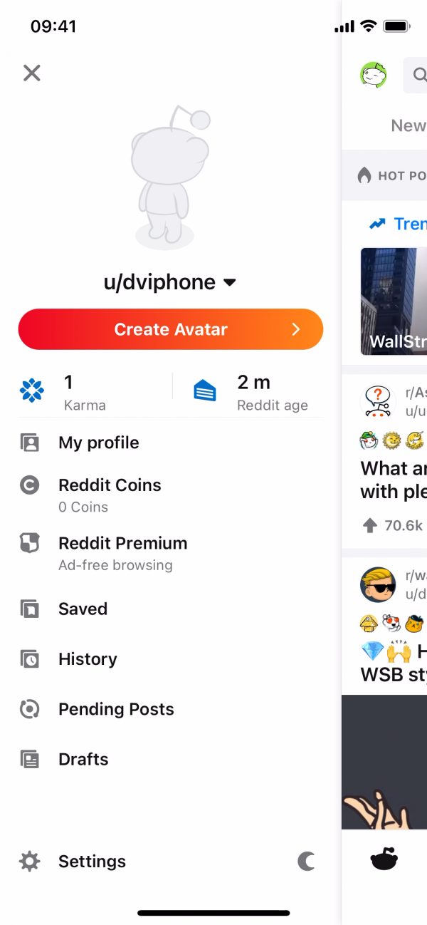 Reddit Secondary navigation screenshot