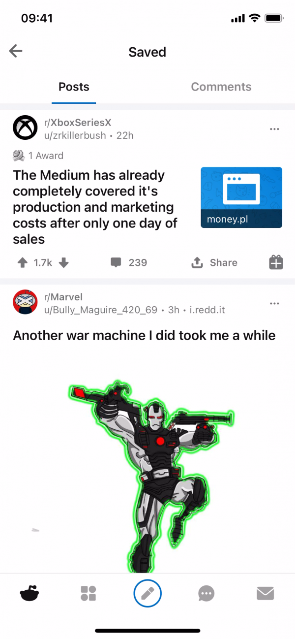 Reddit Saved posts screenshot