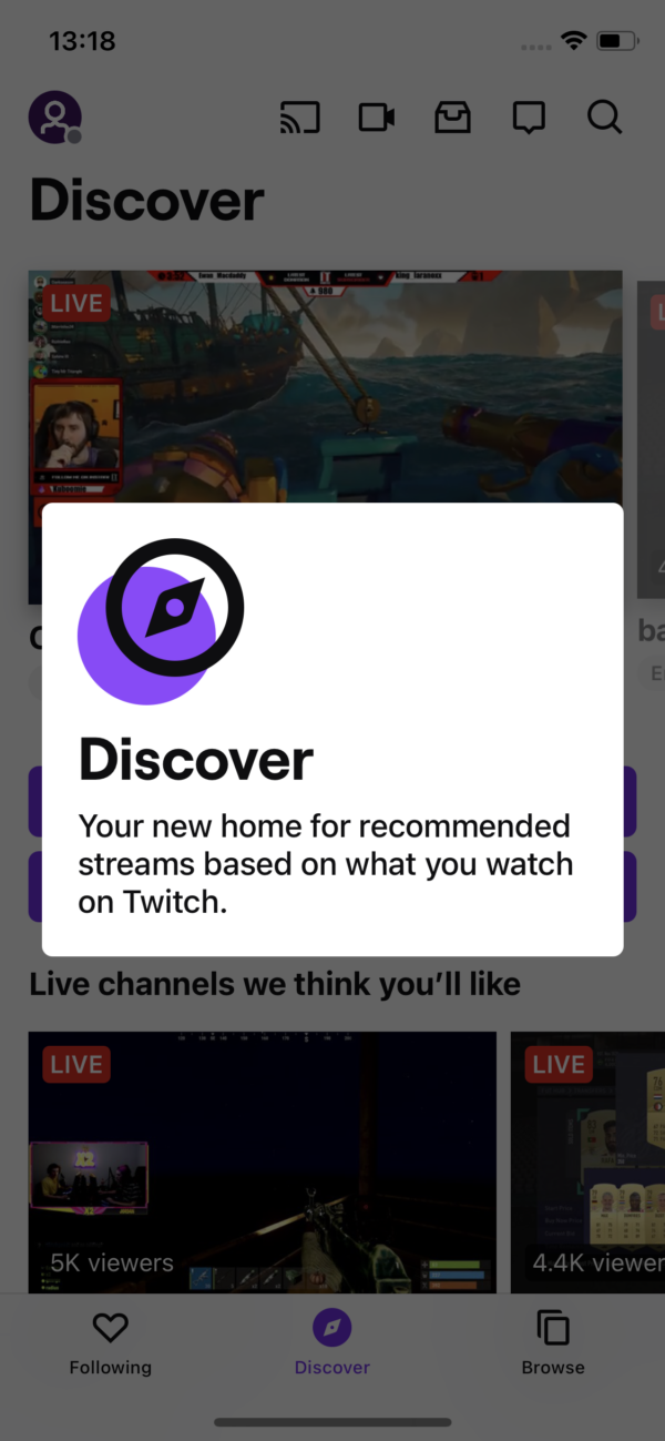Twitch Discover screenshot