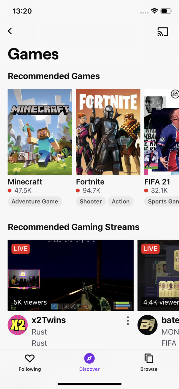 Twitch Browse / Games screenshot