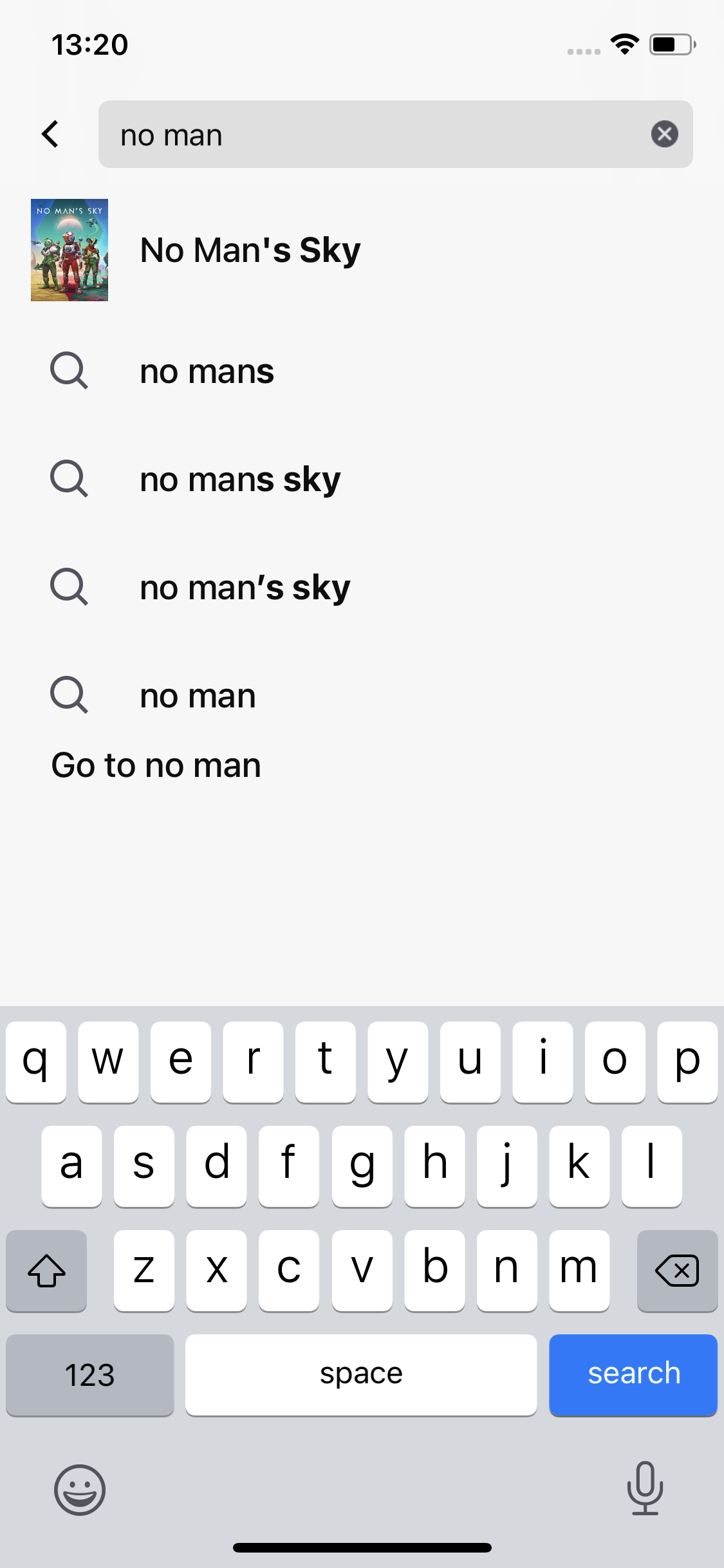 Search autocomplete screenshot
