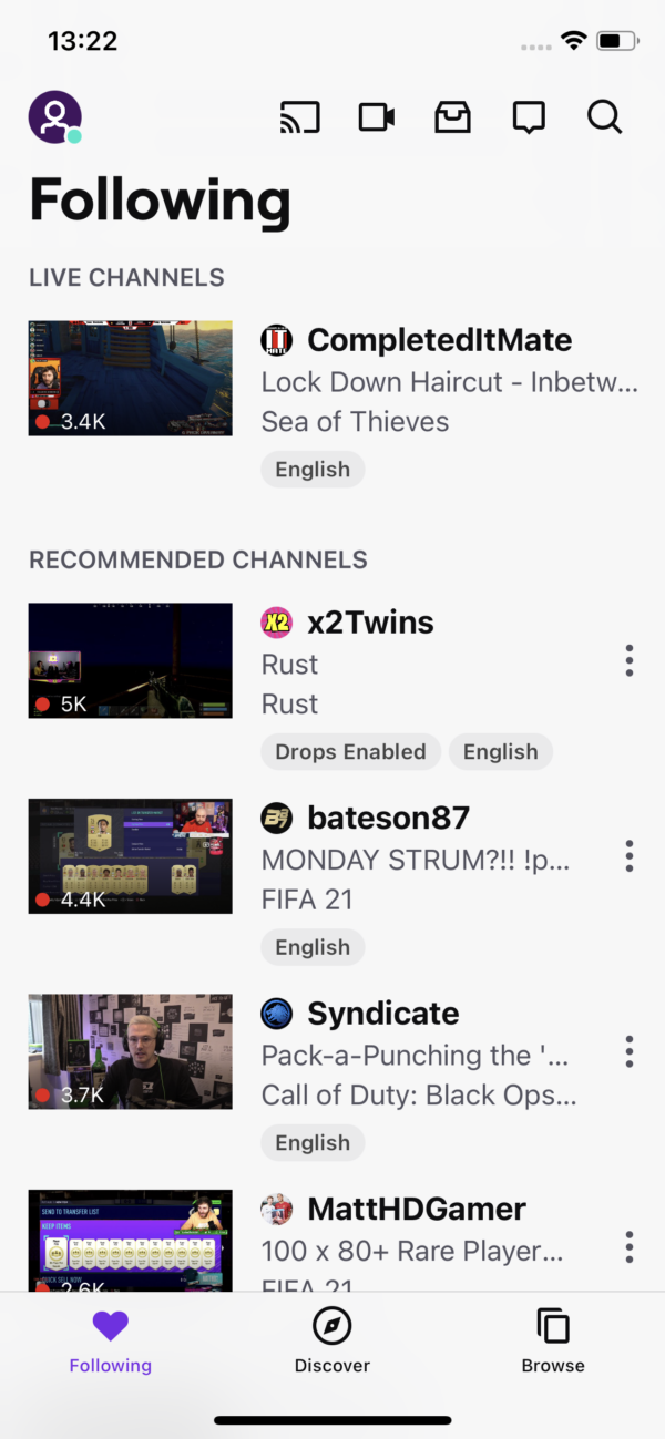 Twitch Following screenshot