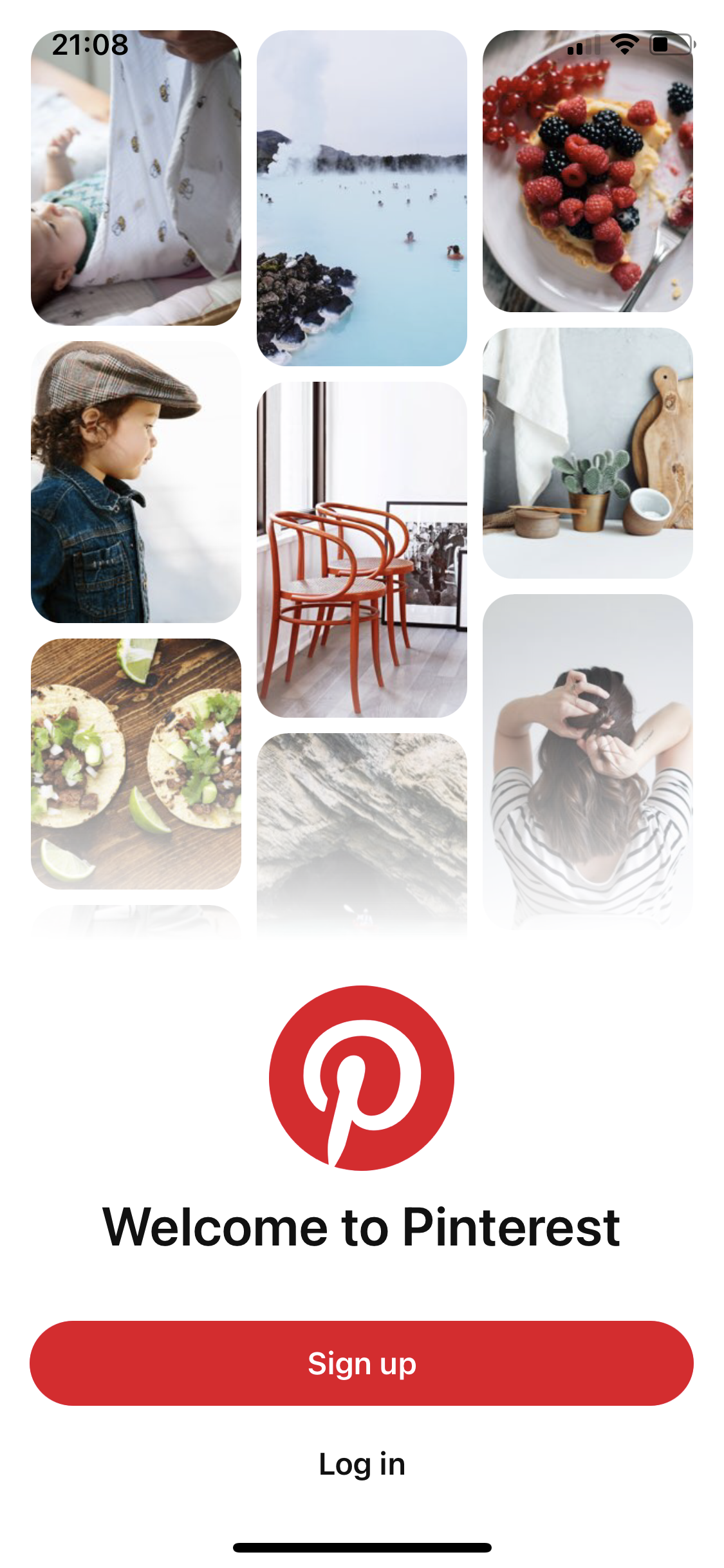 Welcome to Pinterest screenshot