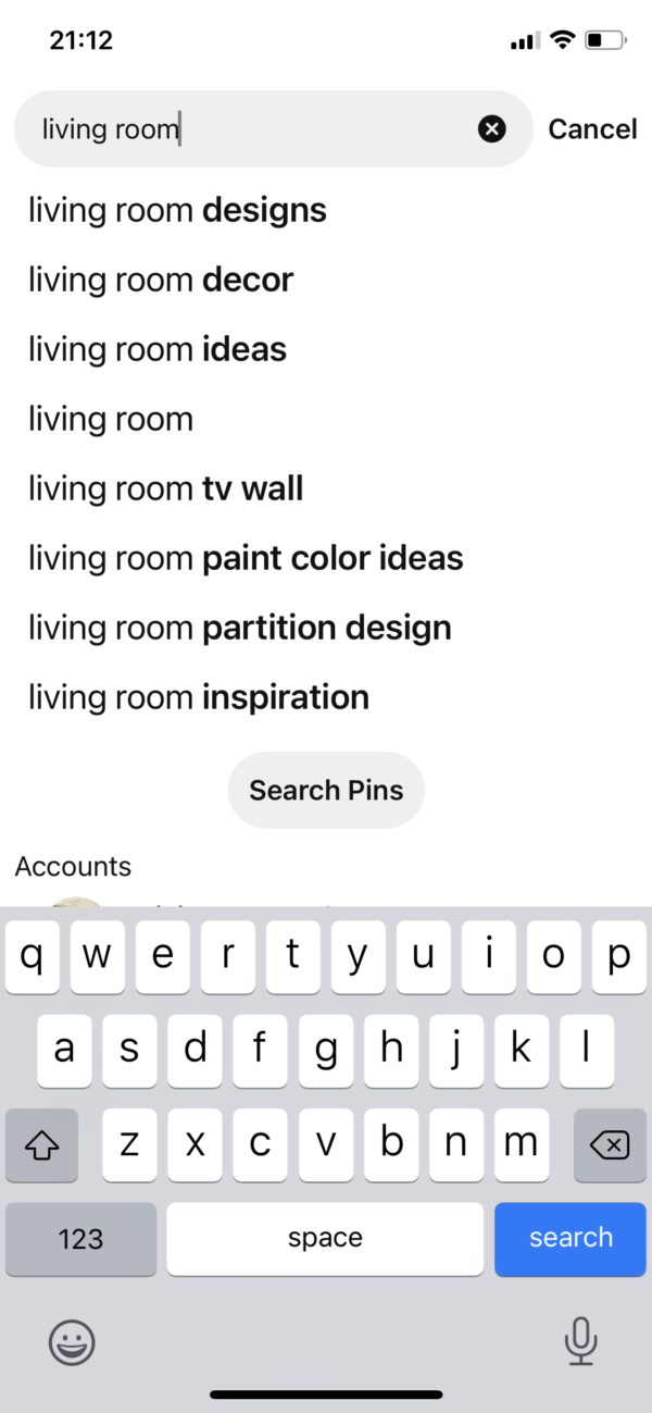 Pinterest Search auto complete screenshot