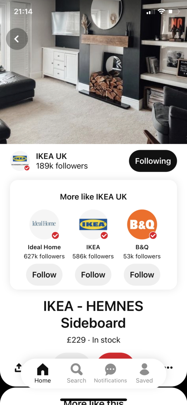 Pinterest Follow suggestions screenshot