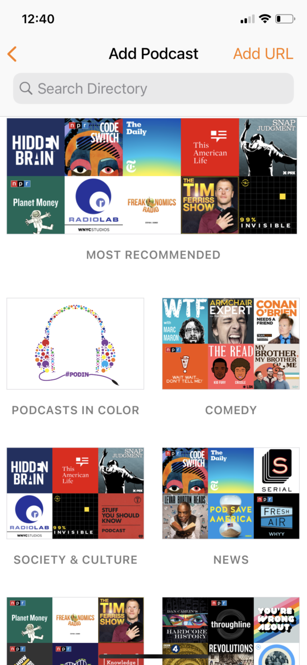 Overcast Add podcast screenshot