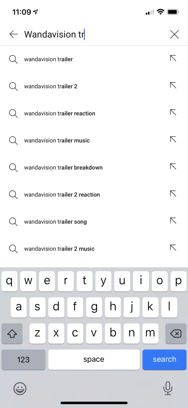 YouTube Search suggestions screenshot