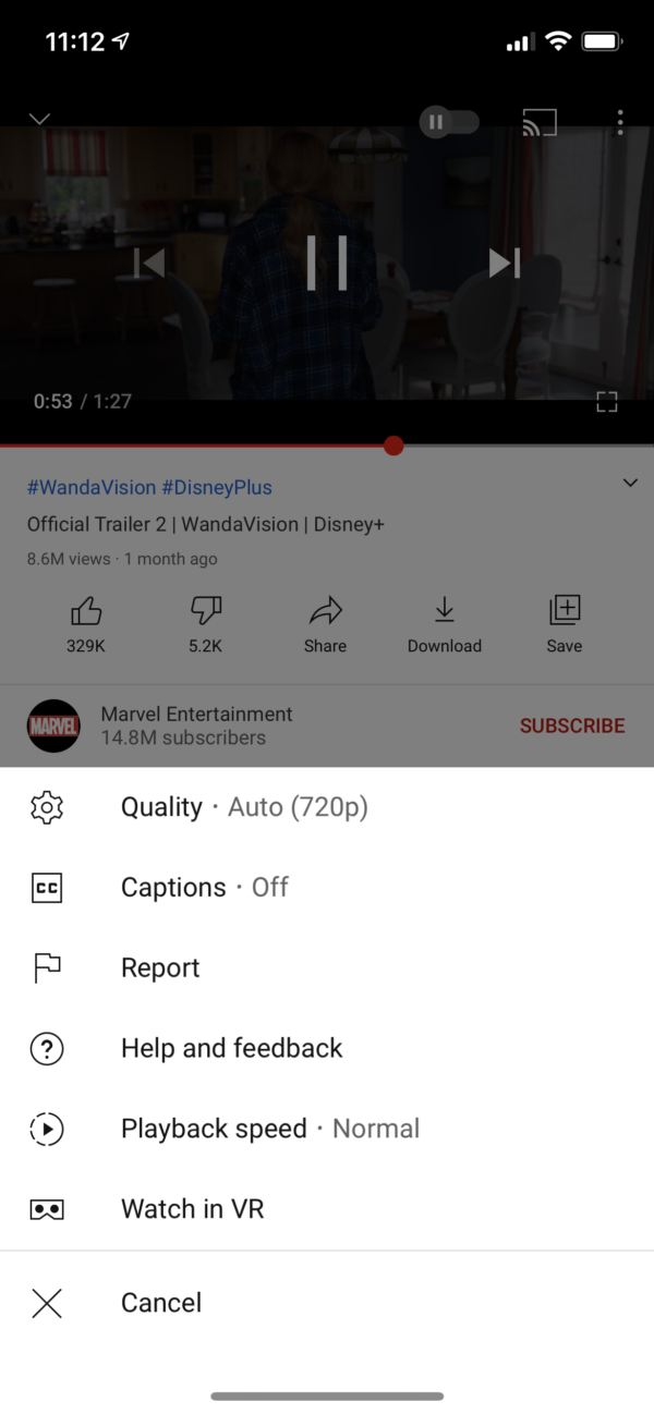 YouTube Playback menu screenshot