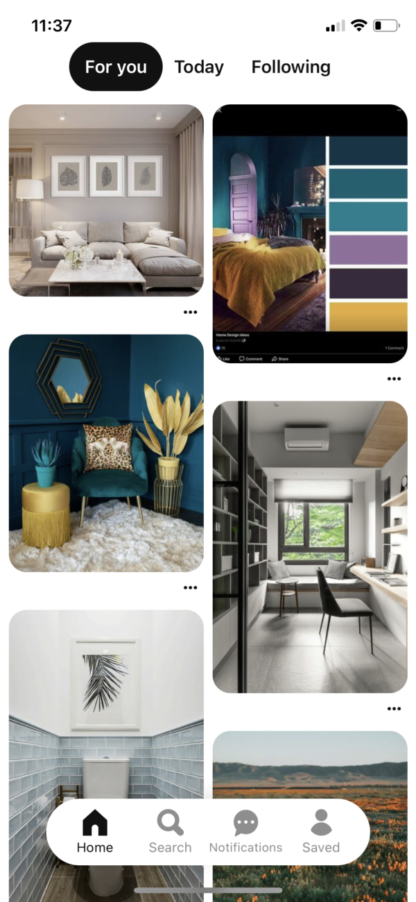Pinterest Home screen screenshot