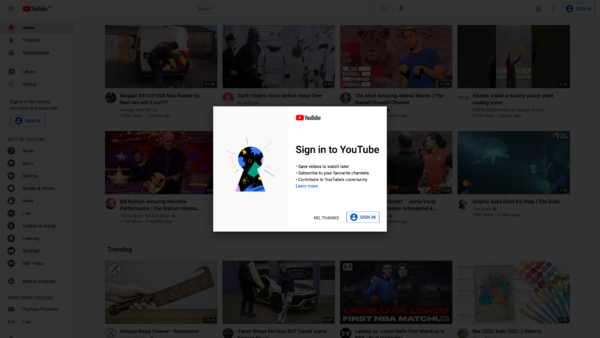 YouTube Sign in to YouTube screenshot