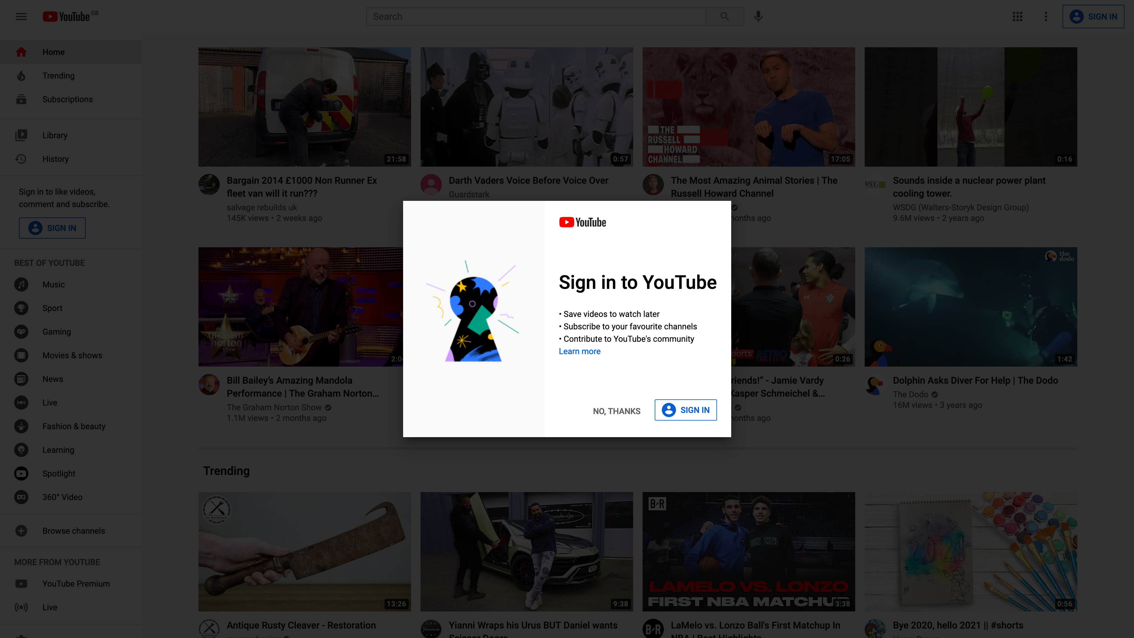 Sign in to YouTube screenshot
