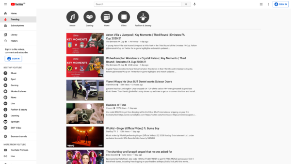 YouTube Trending screenshot