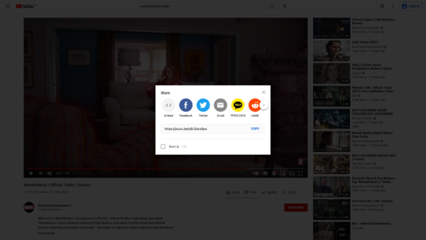 YouTube Share menu screenshot
